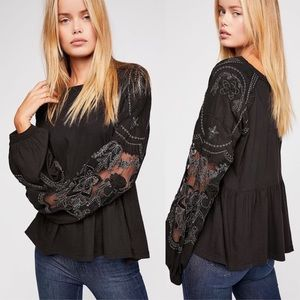 NWT Free People Black Embroidered Top